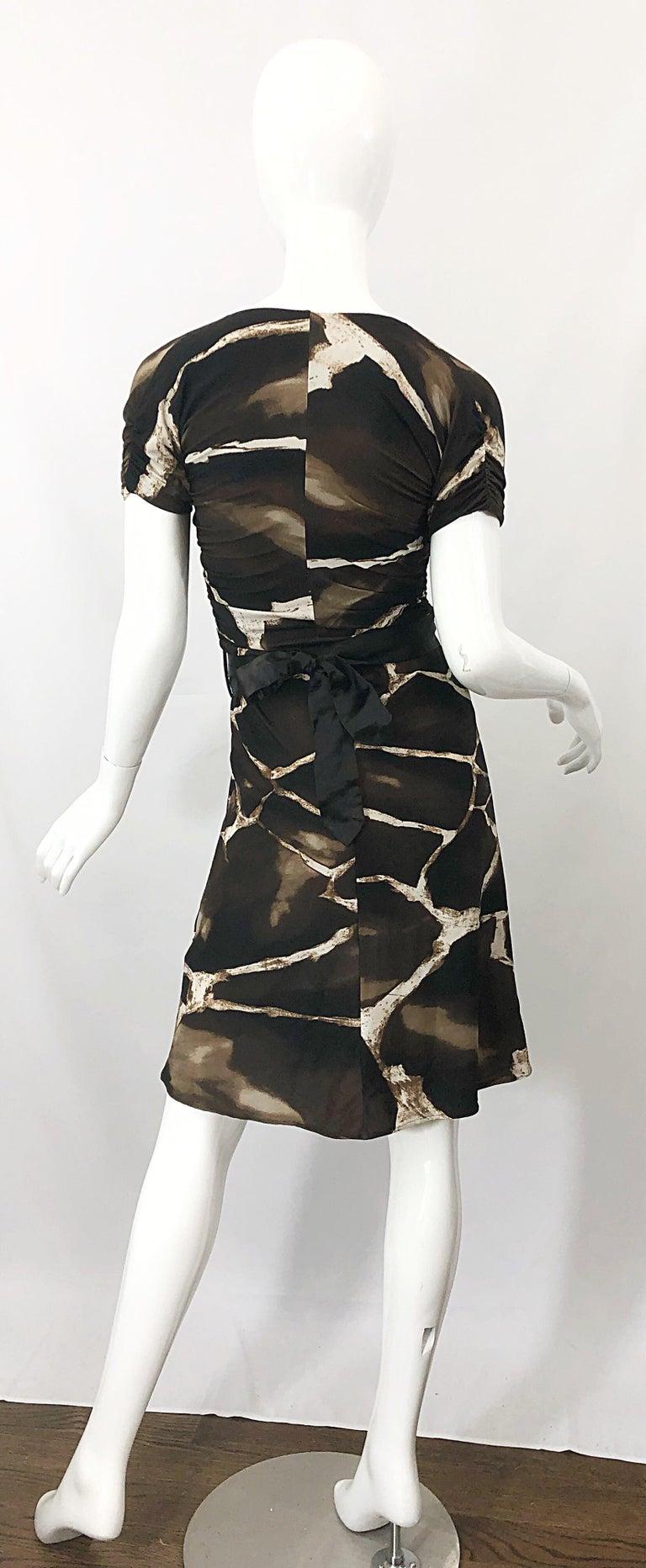 Women's 1980s Roberto Cavalli for Neiman Marcus Giraffe Print Vintage 80s Jersey Dress For Sale