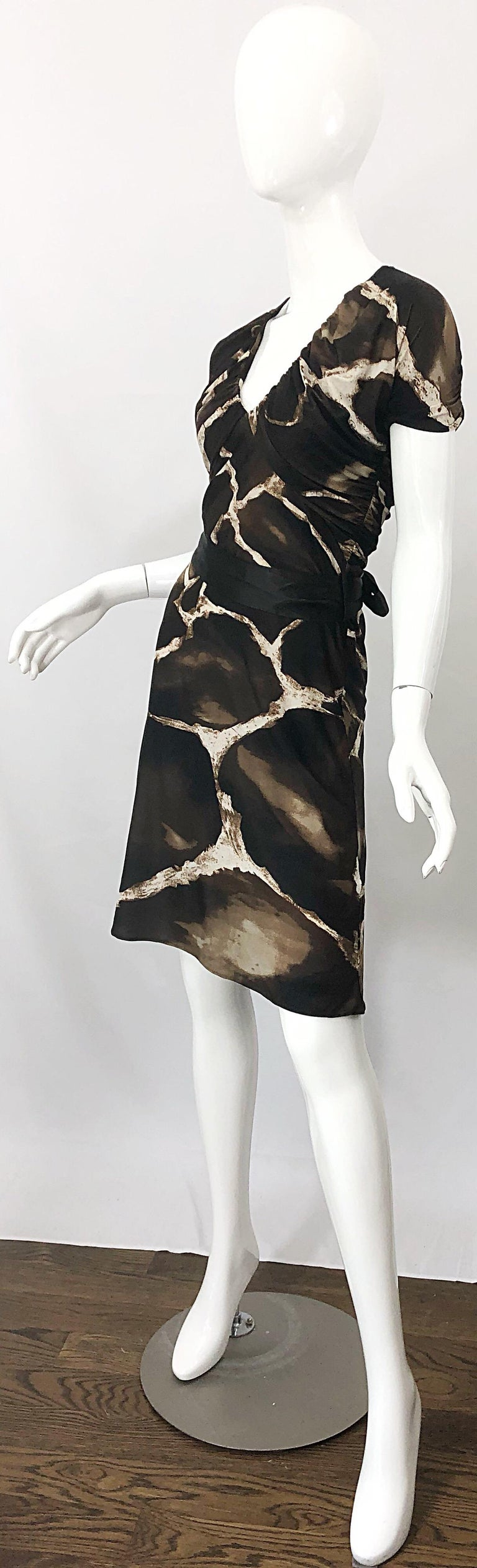 1980s Roberto Cavalli for Neiman Marcus Giraffe Print Vintage 80s Jersey Dress For Sale 1