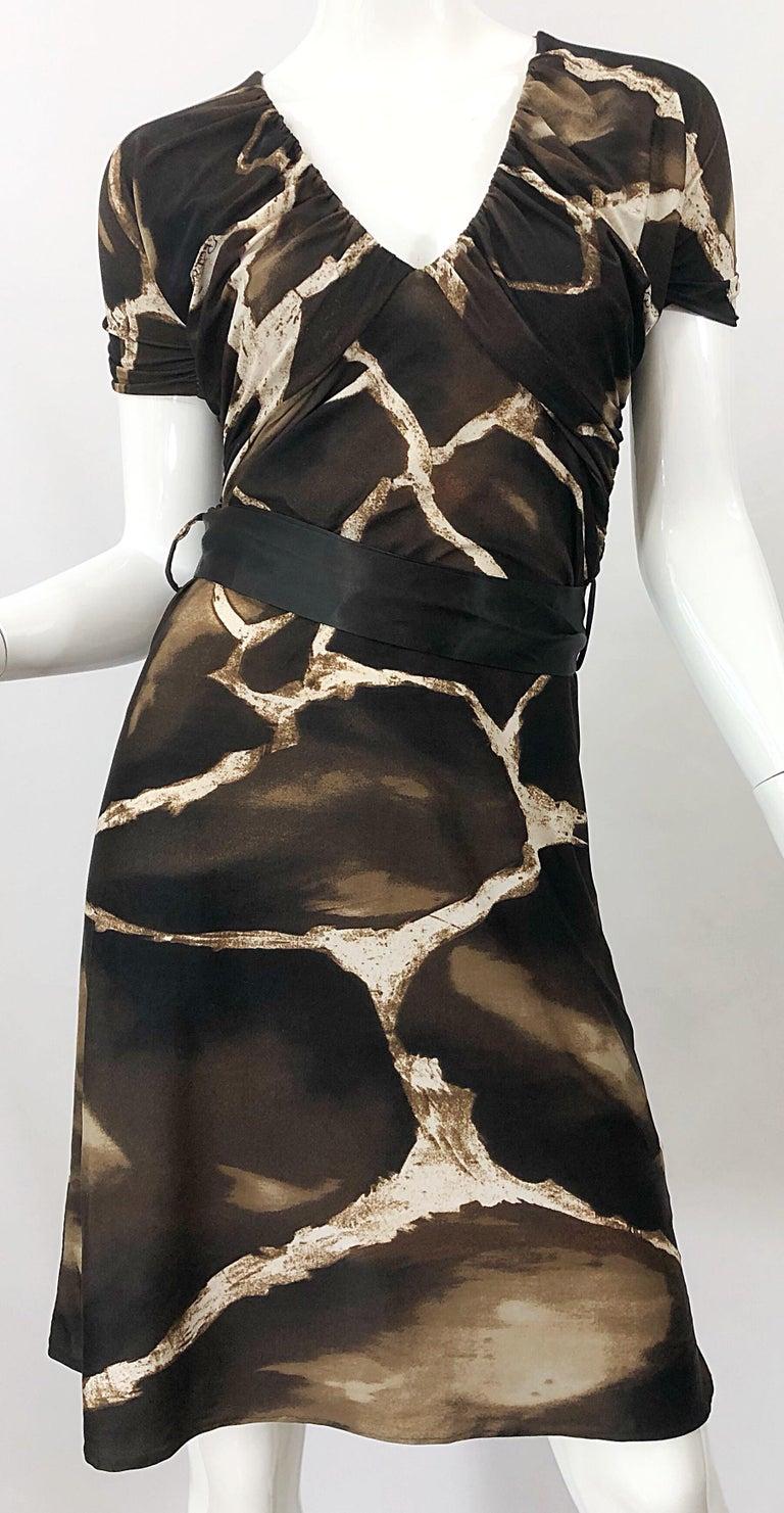 1980s Roberto Cavalli for Neiman Marcus Giraffe Print Vintage 80s Jersey Dress For Sale 2