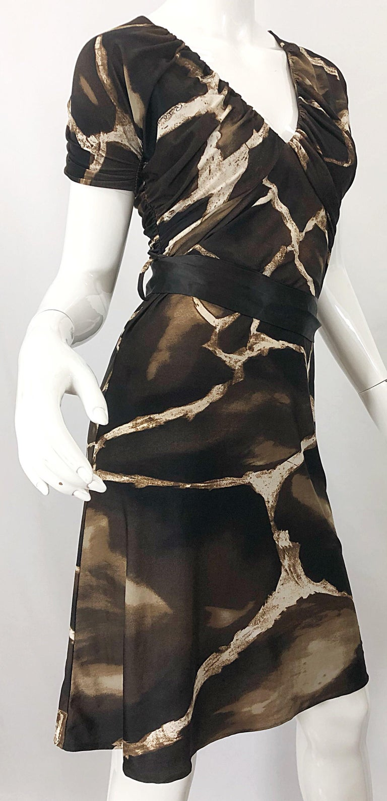 1980s Roberto Cavalli for Neiman Marcus Giraffe Print Vintage 80s Jersey Dress For Sale 3