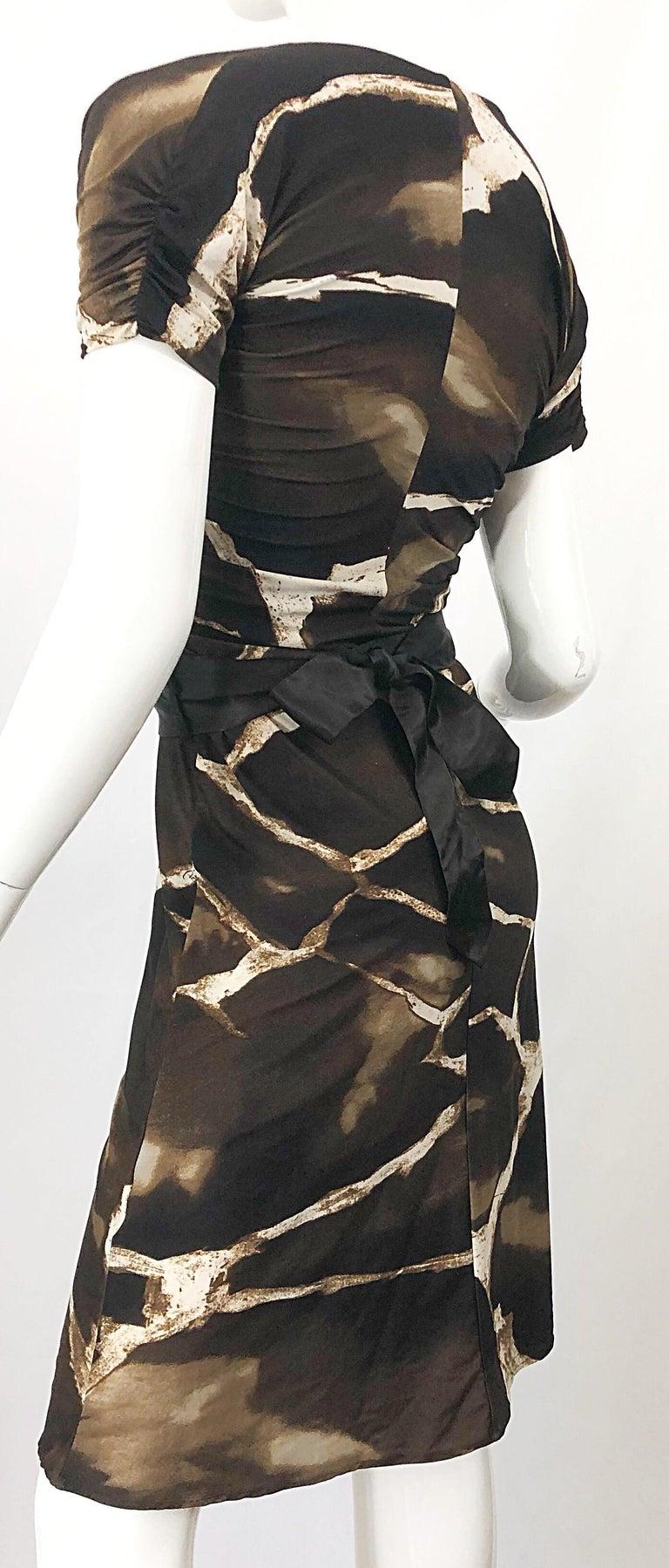 1980s Roberto Cavalli for Neiman Marcus Giraffe Print Vintage 80s Jersey Dress For Sale 4
