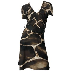 1990s Roberto Cavalli for Neiman Marcus Giraffe Print Vintage 90s Jersey Dress