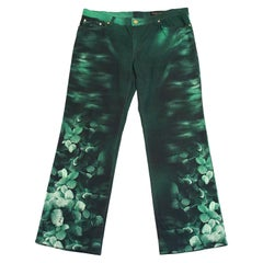 1990s Roberto Cavalli Green Floral Jeans