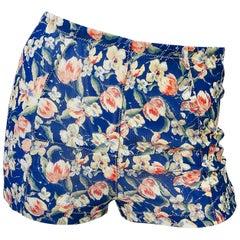 1990s Roberto Cavalli Navy Blue Flower Print Vintage 90s Mesh Shorts Hot Pants