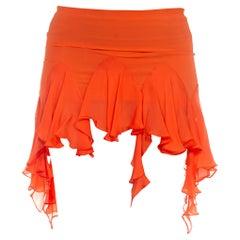 1990S Roberto Cavalli Orange Silk Ruffled Mini Skirt