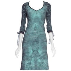 1990s Roberto Cavalli Slinky Crocodile Snakeskin Print Dress