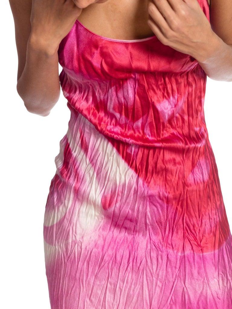 1990s Roberto Cavalli Tie-Dye Rose Print Wrinkled Bias Cut Silk Slip Dress For Sale 6