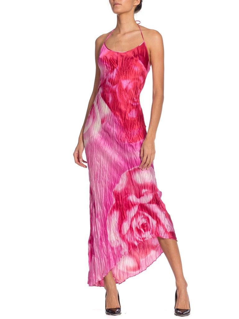 Pink 1990s Roberto Cavalli Tie-Dye Rose Print Wrinkled Bias Cut Silk Slip Dress For Sale