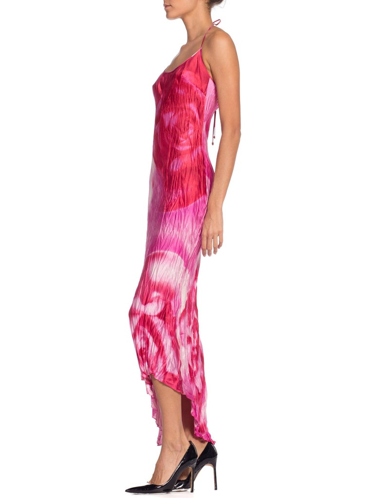 1990s Roberto Cavalli Tie-Dye Rose Print Wrinkled Bias Cut Silk Slip Dress In Excellent Condition For Sale In New York, NY