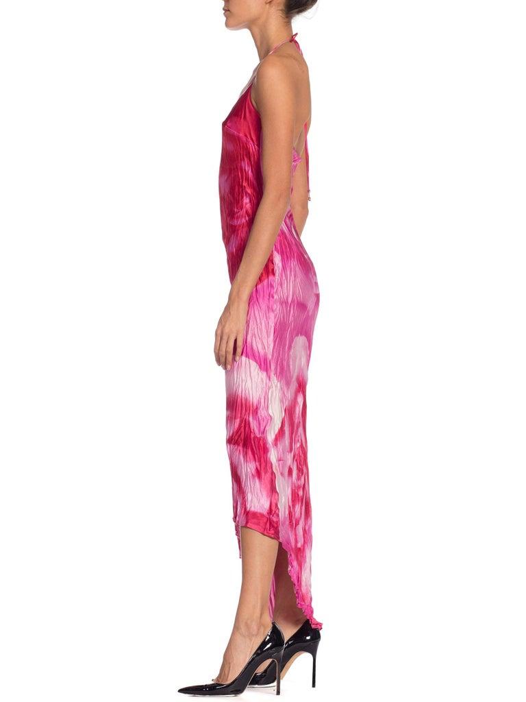 Women's 1990s Roberto Cavalli Tie-Dye Rose Print Wrinkled Bias Cut Silk Slip Dress For Sale