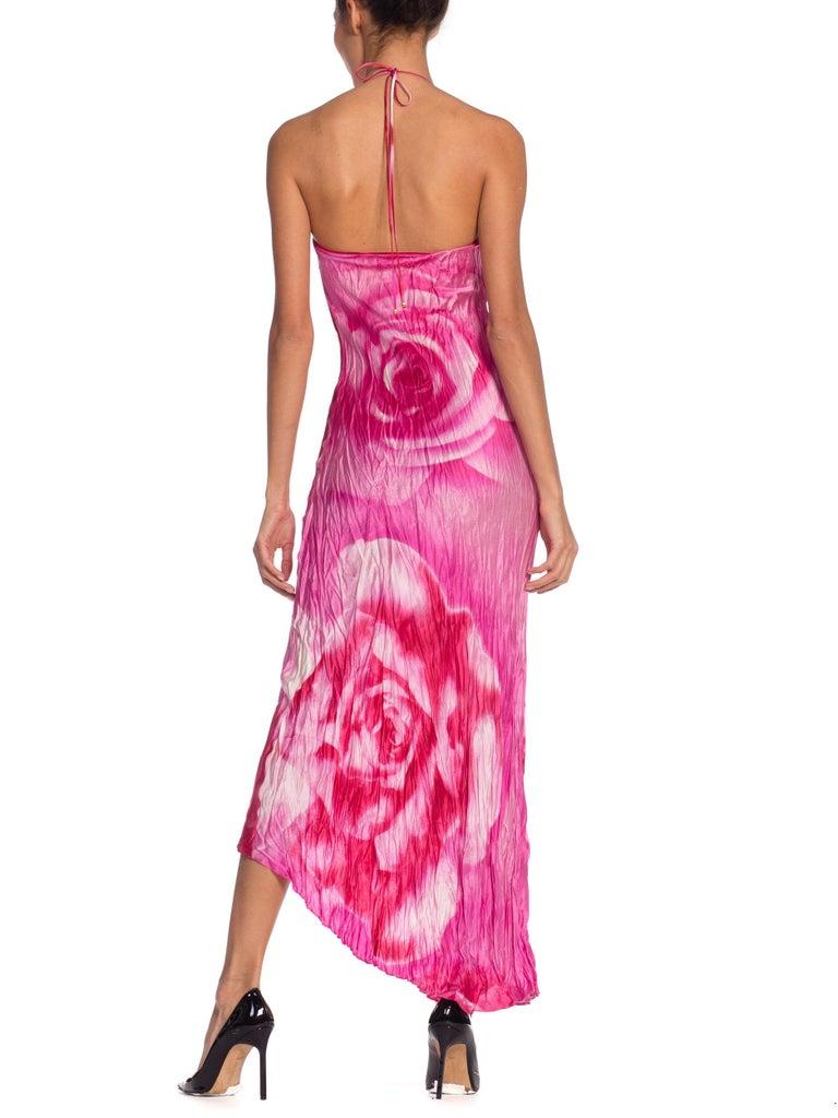 1990s Roberto Cavalli Tie-Dye Rose Print Wrinkled Bias Cut Silk Slip Dress For Sale 1