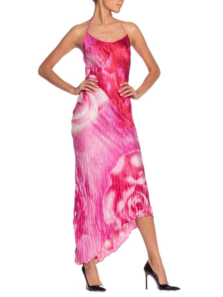 1990s Roberto Cavalli Tie-Dye Rose Print Wrinkled Bias Cut Silk Slip Dress For Sale 2