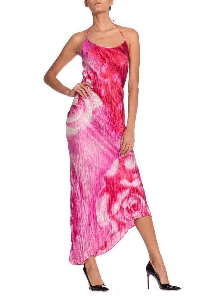 1990s Roberto Cavalli Tie-Dye Rose Print Wrinkled Bias Cut Silk Slip Dress For Sale 3