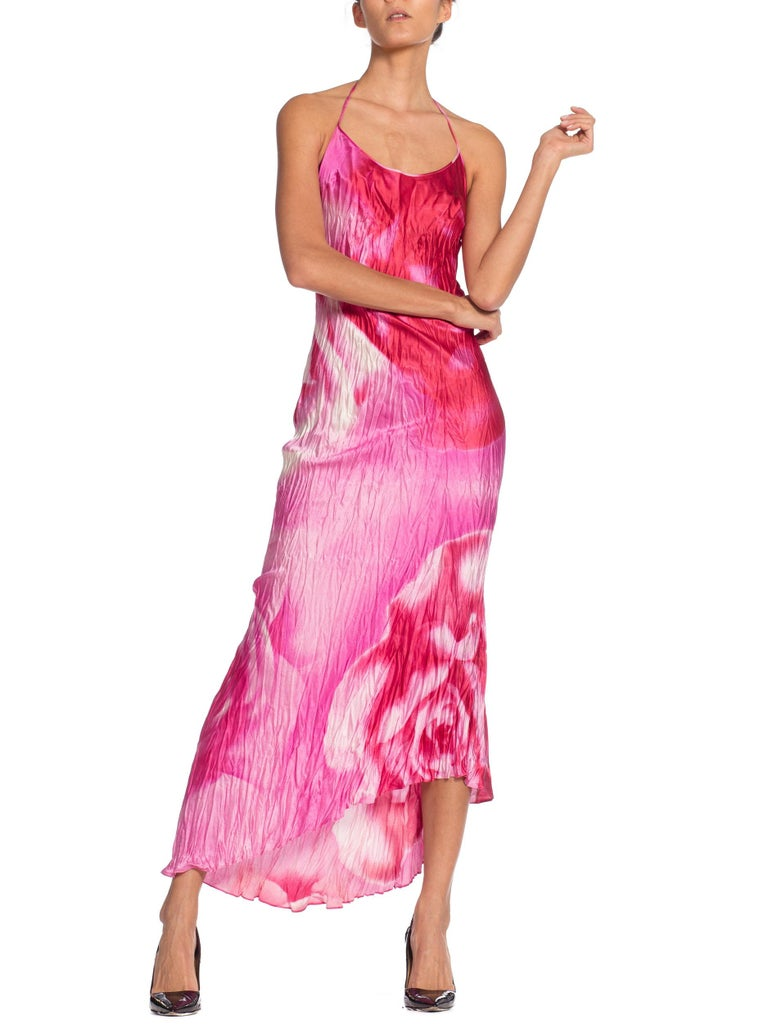 1990s Roberto Cavalli Tie-Dye Rose Print Wrinkled Bias Cut Silk Slip Dress For Sale 4