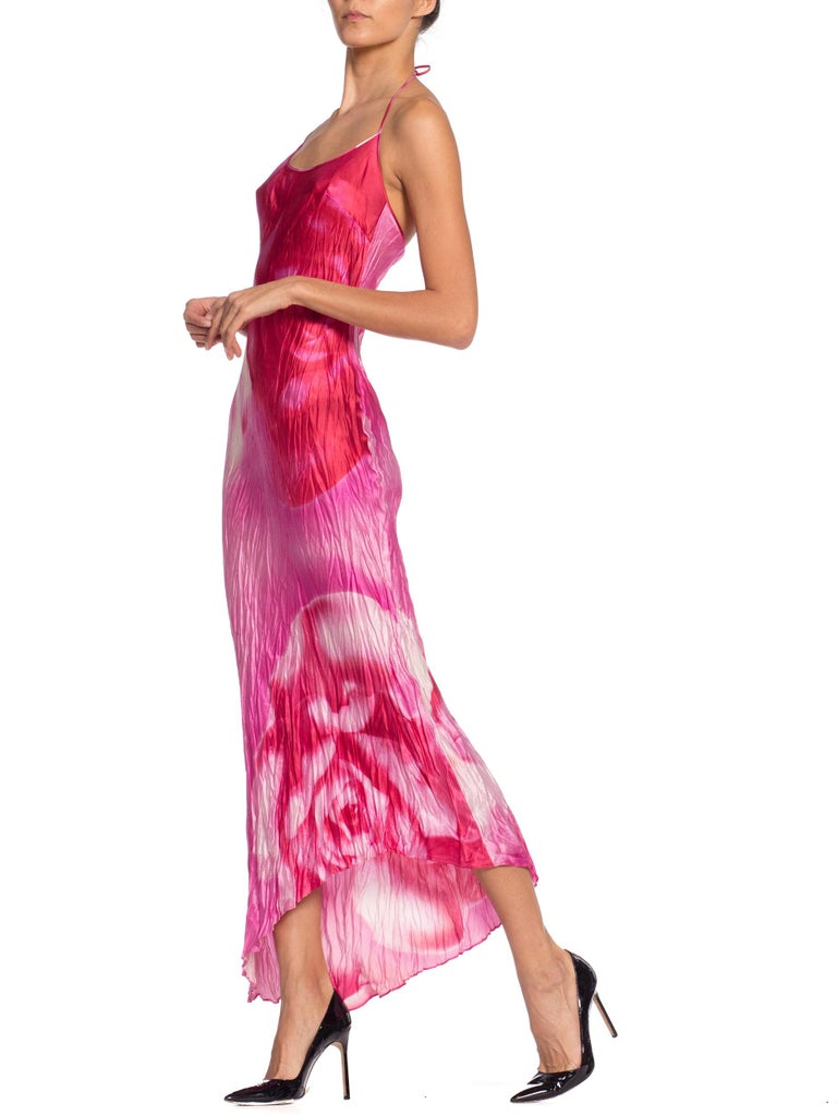 1990s Roberto Cavalli Tie-Dye Rose Print Wrinkled Bias Cut Silk Slip Dress For Sale 5