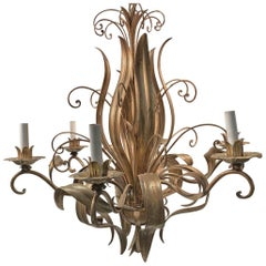 1990s Rococo Italian Floral Chandelier with Gold Leaf Filigree, Six-Light