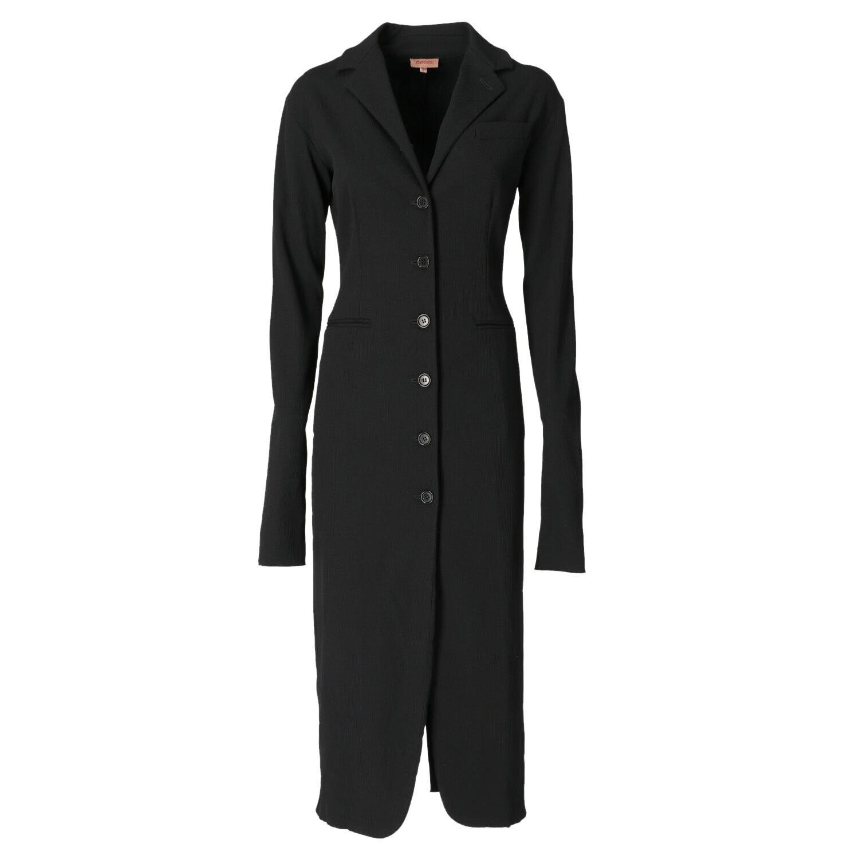 1990s Romeo Gigli Black Ribbed Overcoat