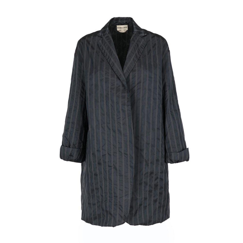 1990s Romeo Gigli blue pinstripe silk blend open jacket