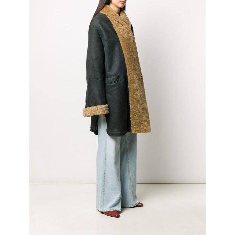 Black 1990s Romeo Gigli Dark Blue Sheepskin Coat For Sale