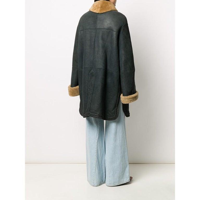 1990s Romeo Gigli Dark Blue Sheepskin Coat In Good Condition For Sale In Lugo (RA), IT