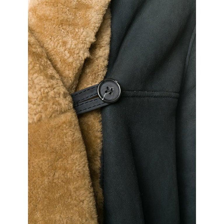 Women's 1990s Romeo Gigli Dark Blue Sheepskin Coat For Sale