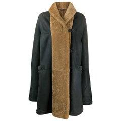 1990s Romeo Gigli Dark Blue Sheepskin Coat