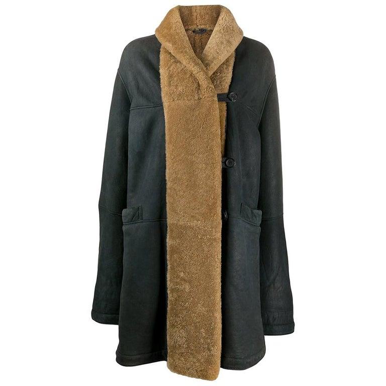 1990s Romeo Gigli Dark Blue Sheepskin Coat For Sale