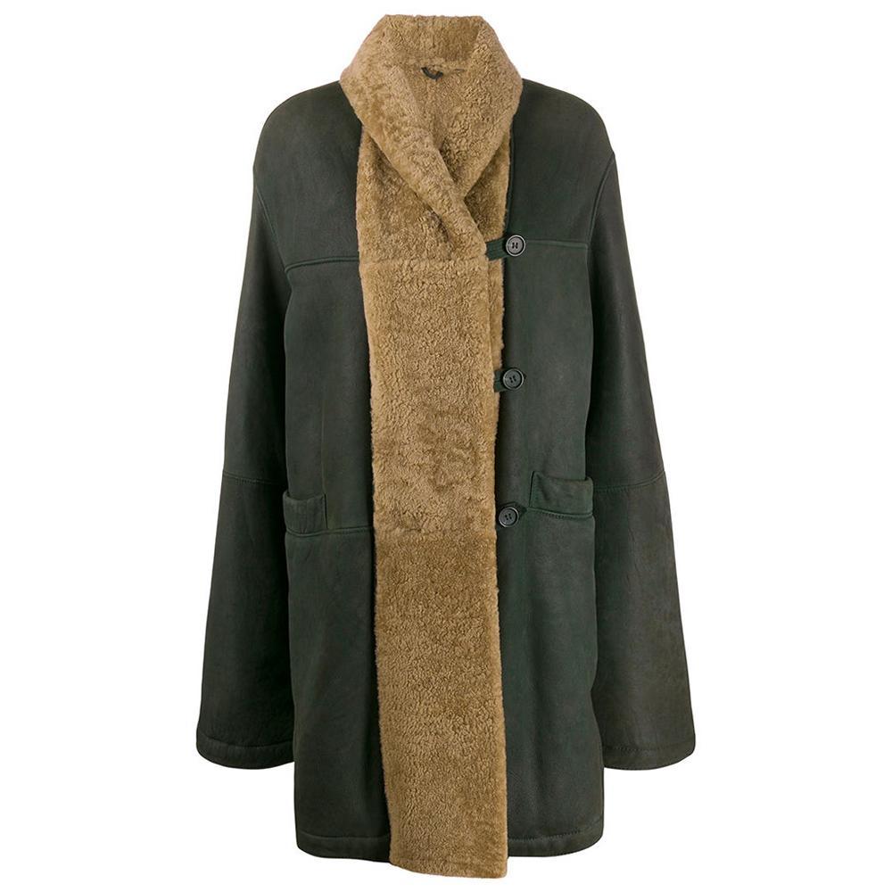 1990s Romeo Gigli Green Midi Sheepskin Coat
