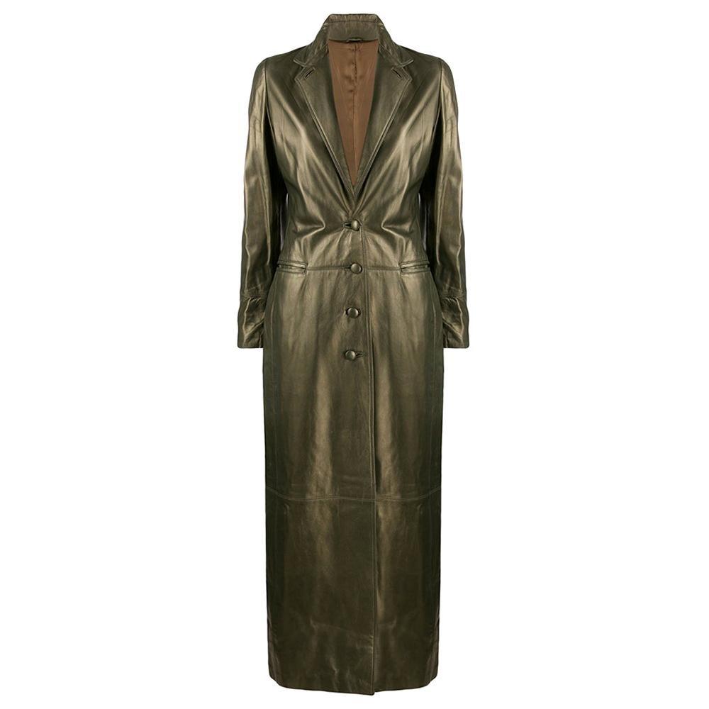 1990s Romeo Gigli Long Leather Coat