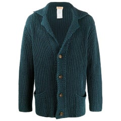 1990s Romeo Gigli Petroleum Blue Knitted Cardigan
