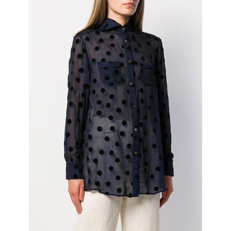 Black 1990s Romeo Gigli Polka Dots Shirt For Sale