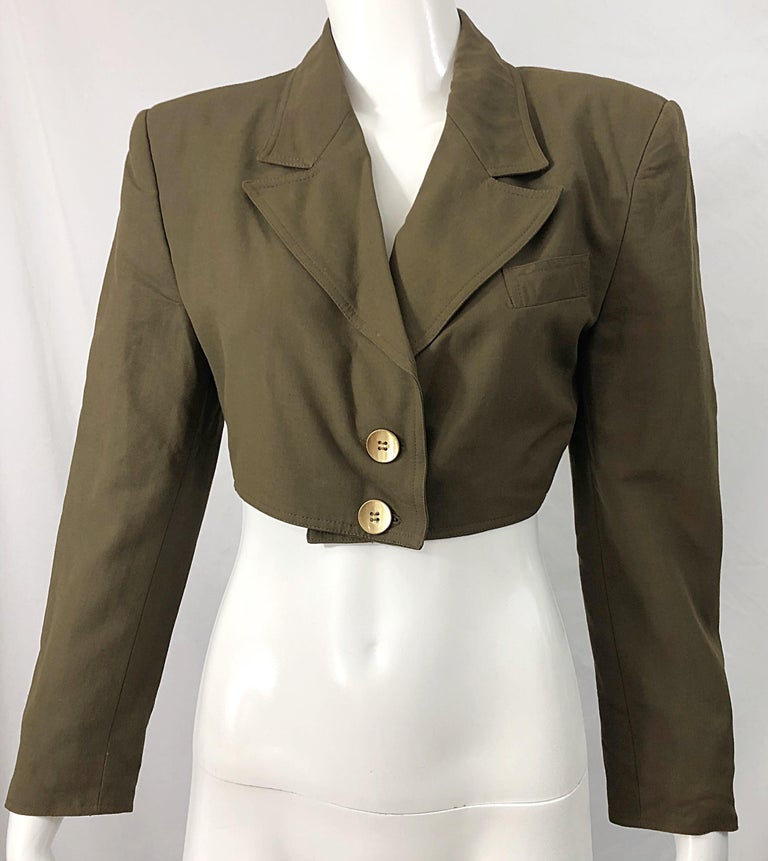 1990s Romeo Gigli Size 6 Army Green Rayon / Wool Vintage 90s Cropped Jacket For Sale 6