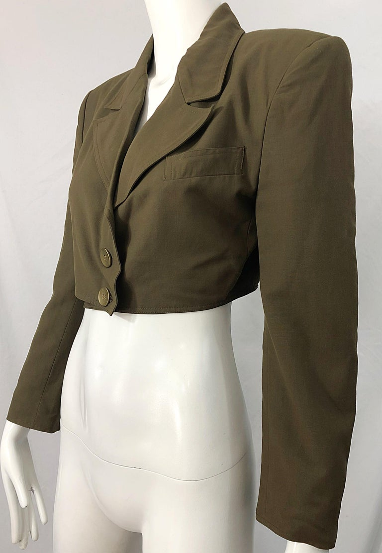 1990s Romeo Gigli Size 6 Army Green Rayon / Wool Vintage 90s Cropped Jacket For Sale 7