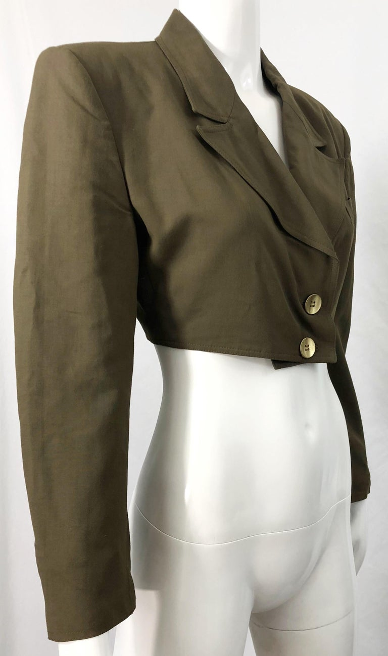 1990s Romeo Gigli Size 6 Army Green Rayon / Wool Vintage 90s Cropped Jacket For Sale 8