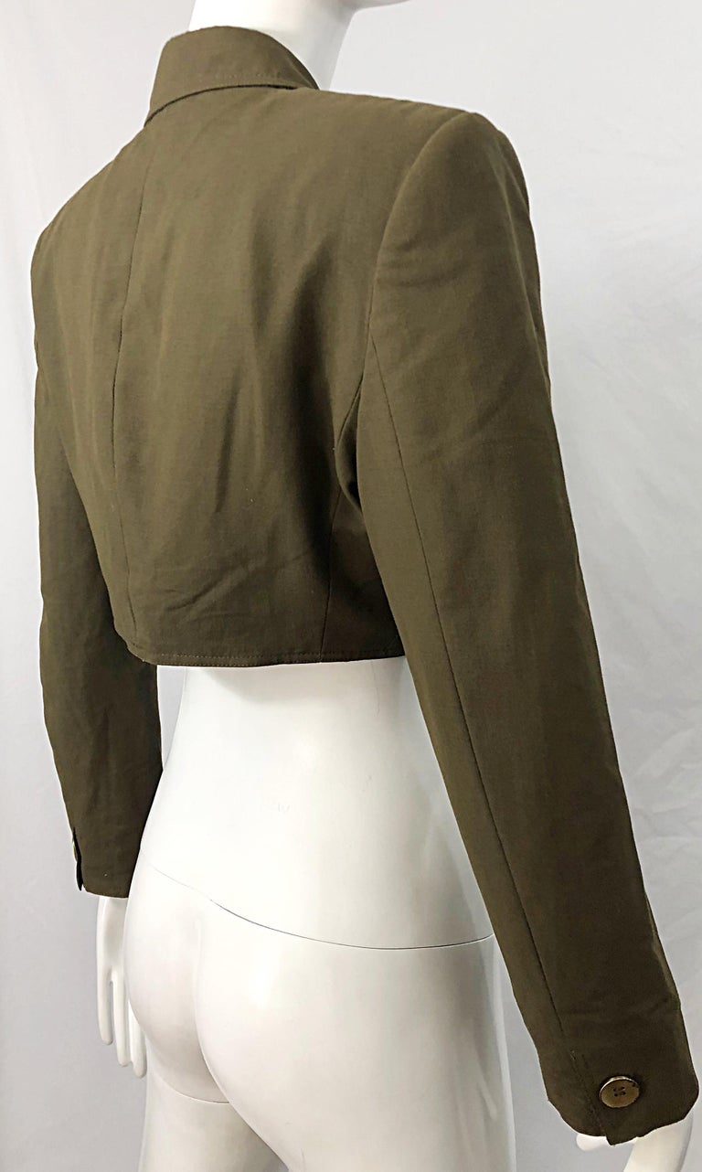 1990s Romeo Gigli Size 6 Army Green Rayon / Wool Vintage 90s Cropped Jacket For Sale 9
