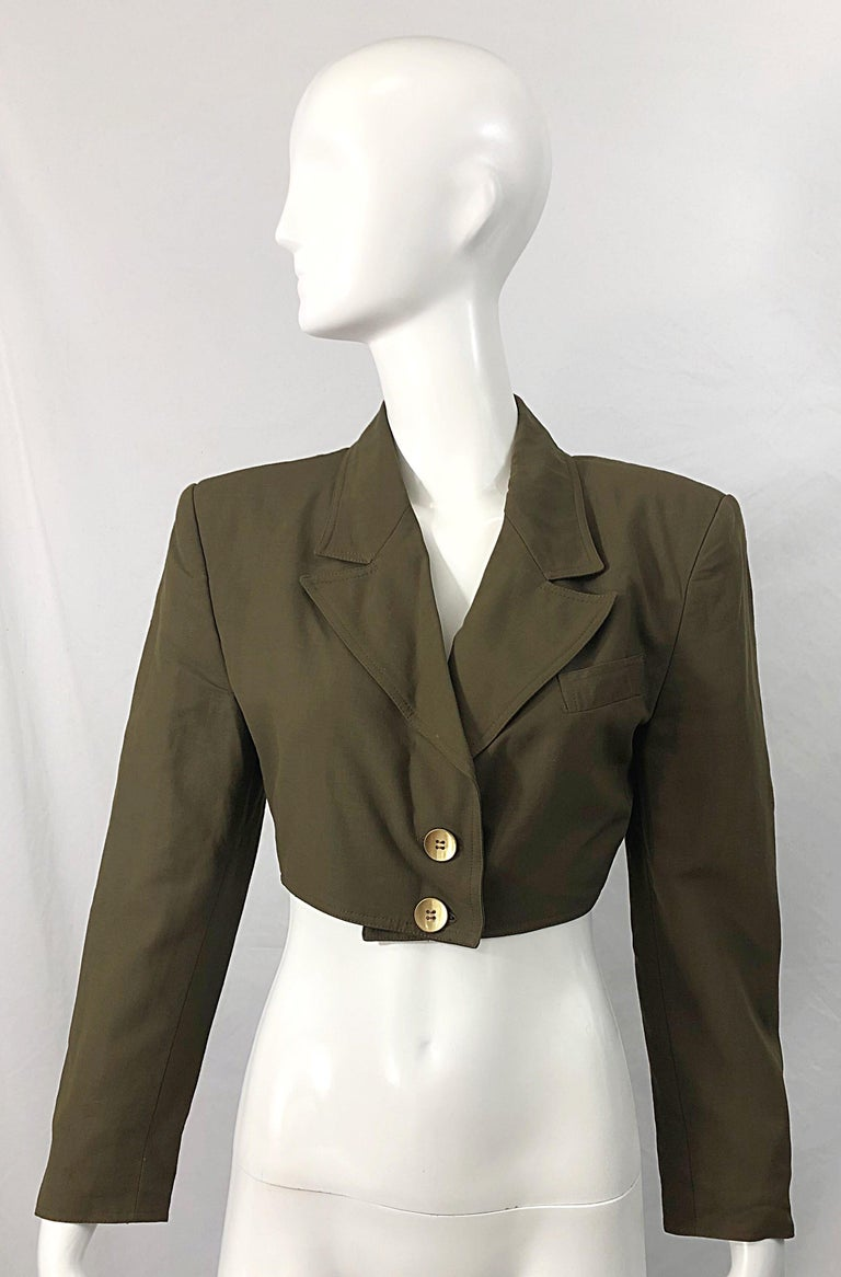 1990s Romeo Gigli Size 6 Army Green Rayon / Wool Vintage 90s Cropped Jacket For Sale 10