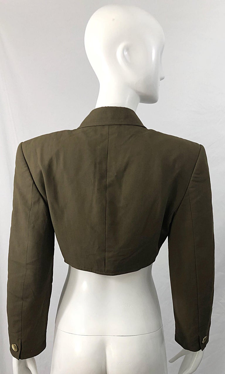 1990s Romeo Gigli Size 6 Army Green Rayon / Wool Vintage 90s Cropped Jacket For Sale 11