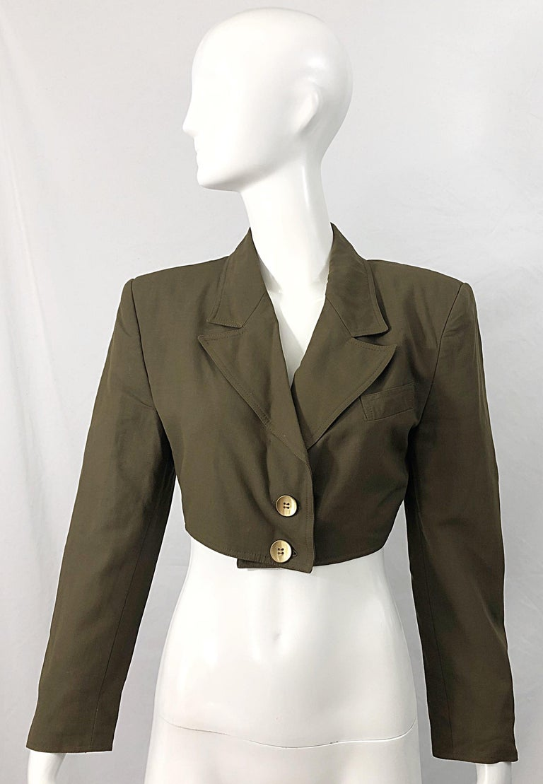 1990s Romeo Gigli Size 6 Army Green Rayon / Wool Vintage 90s Cropped Jacket For Sale 12
