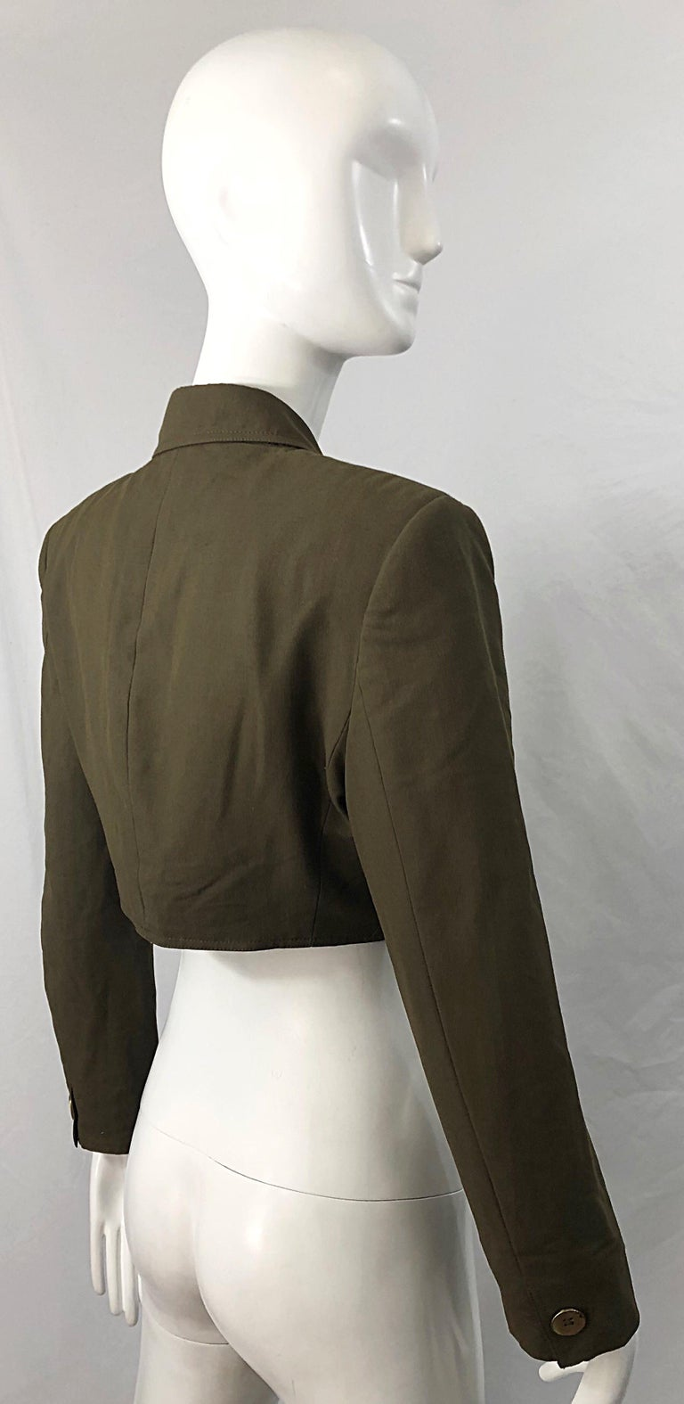 Black 1990s Romeo Gigli Size 6 Army Green Rayon / Wool Vintage 90s Cropped Jacket For Sale