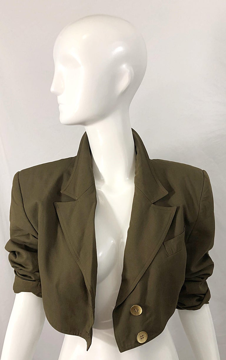 1990s Romeo Gigli Size 6 Army Green Rayon / Wool Vintage 90s Cropped Jacket In Excellent Condition For Sale In Chicago, IL