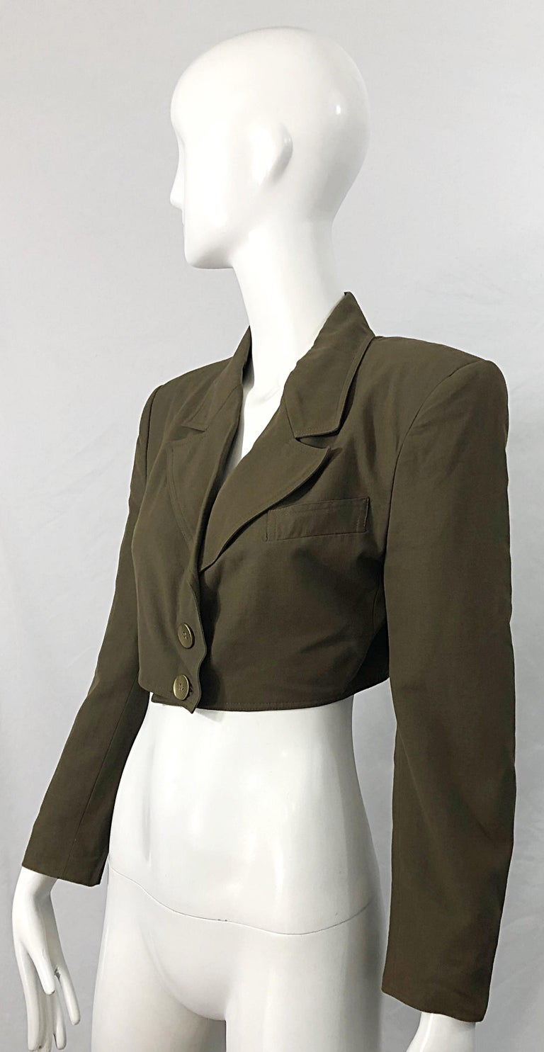 1990s Romeo Gigli Size 6 Army Green Rayon / Wool Vintage 90s Cropped Jacket For Sale 1