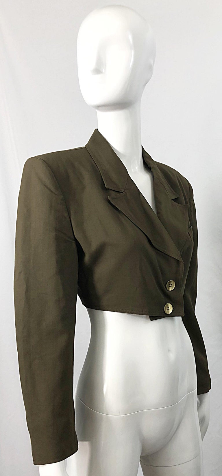 1990s Romeo Gigli Size 6 Army Green Rayon / Wool Vintage 90s Cropped Jacket For Sale 3