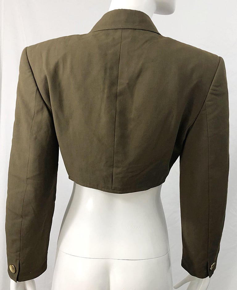 1990s Romeo Gigli Size 6 Army Green Rayon / Wool Vintage 90s Cropped Jacket For Sale 4