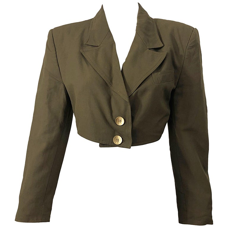 1990s Romeo Gigli Size 6 Army Green Rayon / Wool Vintage 90s Cropped Jacket For Sale