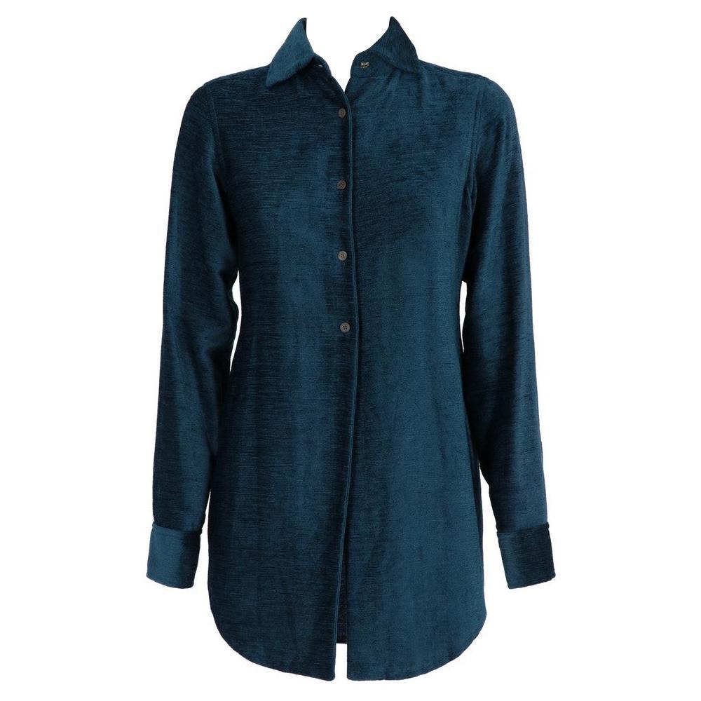 1990s Romeo Gigli Teal Blue Velvet Shirt