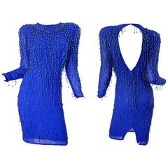 1990s Royal Blue Silk Chiffon Beaded Sequin Open Back Vintage 90s Dress Gatsby