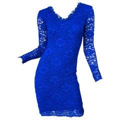 1990s Royal Cobalt Blue Lace Long Sleeve Floral Bodycon Vintage 90s Dress