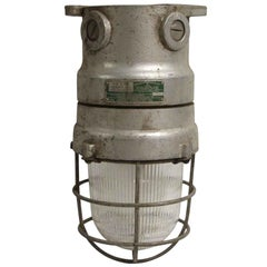 1990s Russell & Stoll Co Industrial or Nautical Sconce Light, Protective Cage