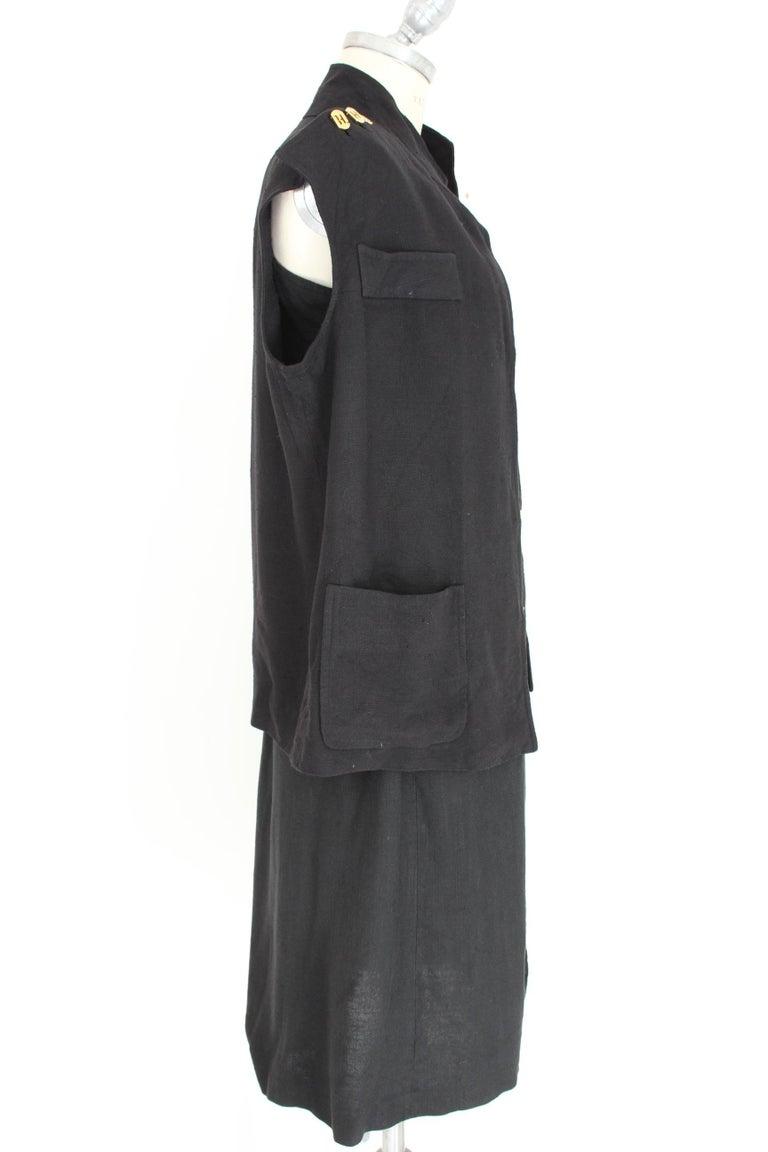 Salvatore Ferragamo Black Viscose Long Cocktail Suit Dress 1990s In Excellent Condition For Sale In Brindisi, Bt
