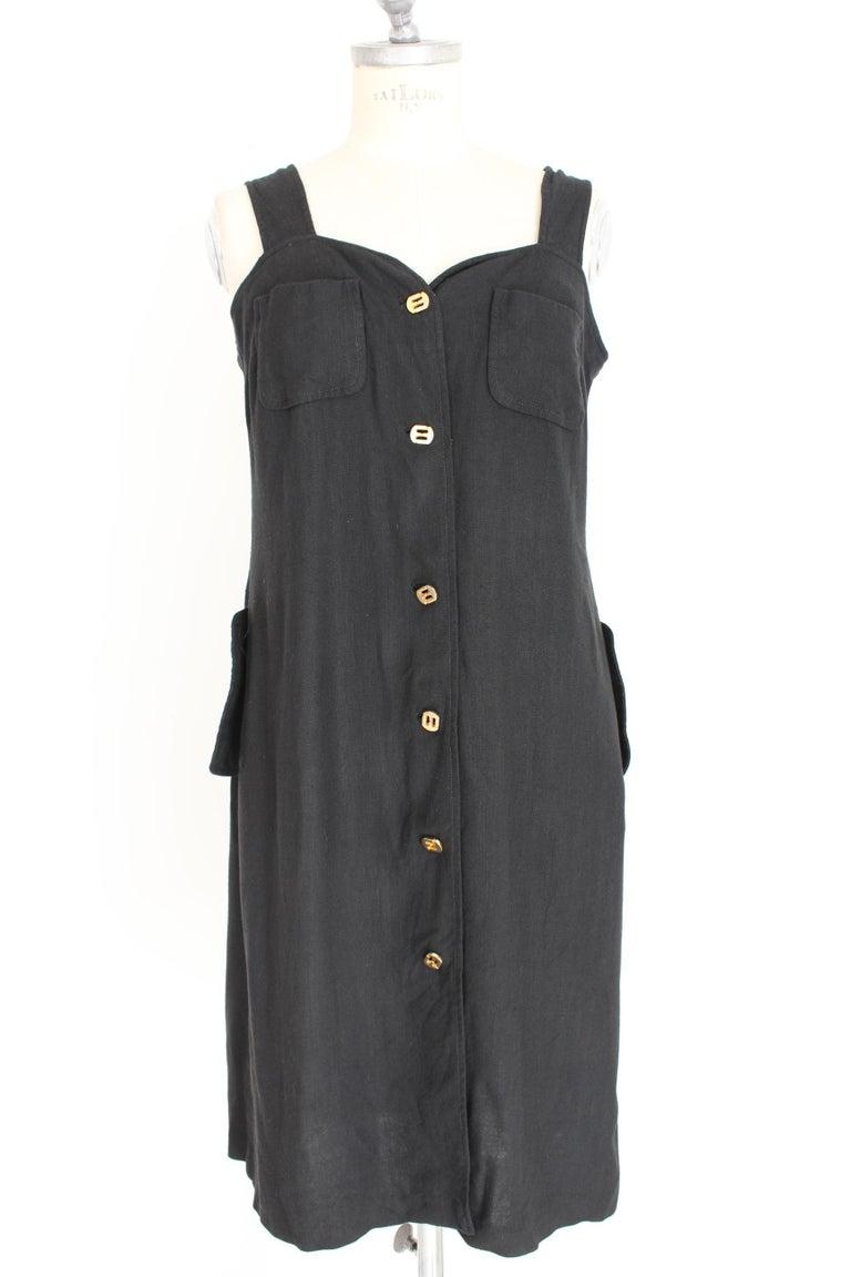 Women's Salvatore Ferragamo Black Viscose Long Cocktail Suit Dress 1990s For Sale